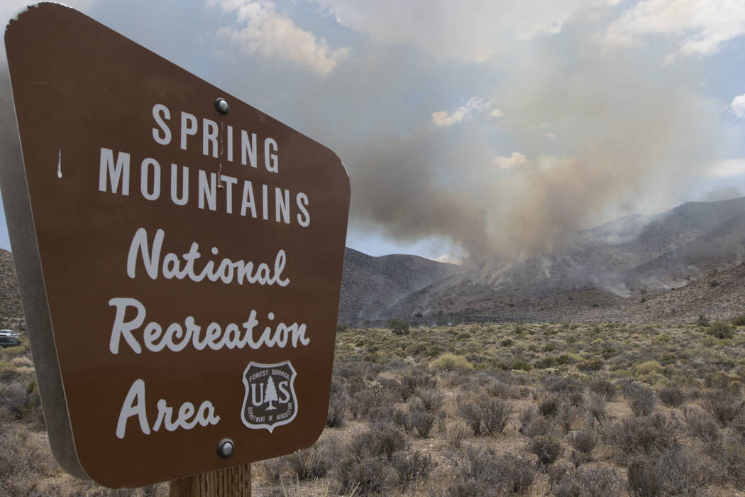 A wildfire burning on the western side of Mount Potosi southwest of Las Vegas, which has grown to more than 420 acres, according to the U.S. Forest Service said. (Richard Brian/Las Vegas Review-Jo ...