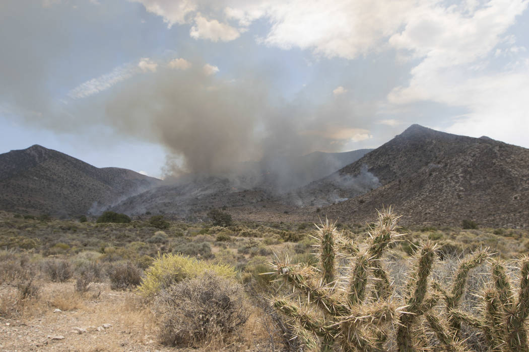 A wildfire burning on the Pahrump side of Mount Potosi southwest of Las Vegas on Friday, July 7, 2017.  (Richard Brian/Las Vegas Review-Journal) @vegasph
