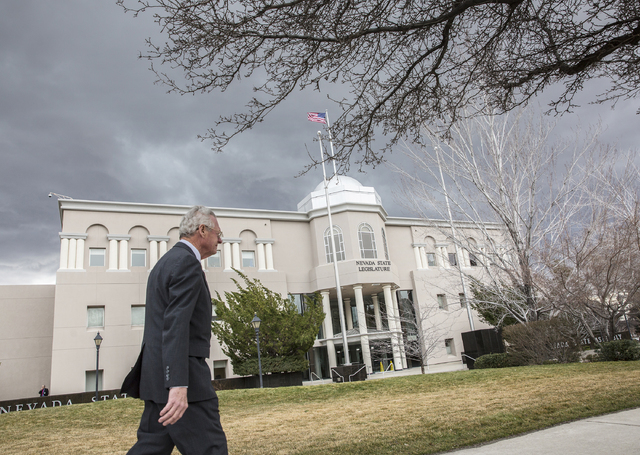 Benjamin Hager/Las Vegas Review-Journal Legislators walk into the Legislative Building during the fourth day of the Nevada Legislative session on Thursday, Feb. 9, 2017, in Carson City.
