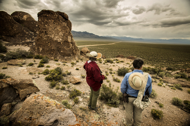 Jeff Scheid/Las Vegas Review-Journal Naturalist and outdoorsman Jim Boone, right, and his wife, Liz, view Garden Valley, which is about a three-hour drive north of Las Vegas, on Wednesday, May 20, ...