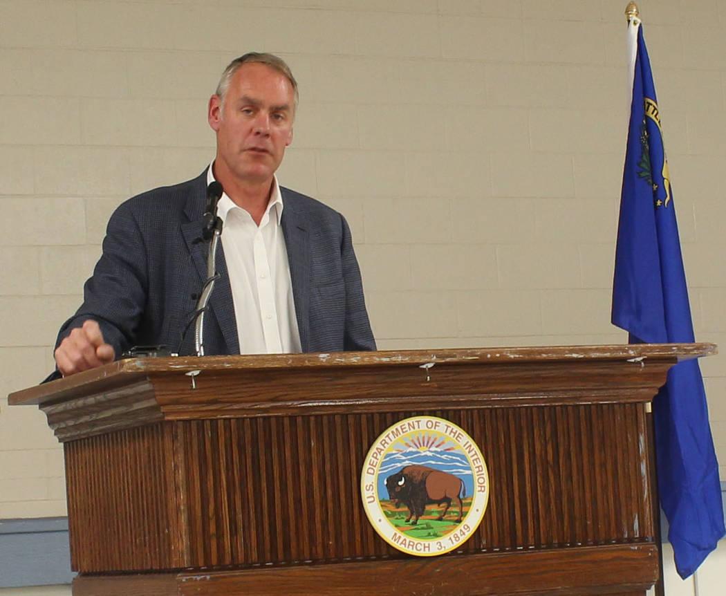 Jeffrey Meehan/Pahrump Valley Times U.S. Secretary of the Interior Ryan Zinke speaks at the Bob Ruud Community Center at 150 N. Highway 160 on June 26, 2017. Zinke is expected to return to Nye Cou ...