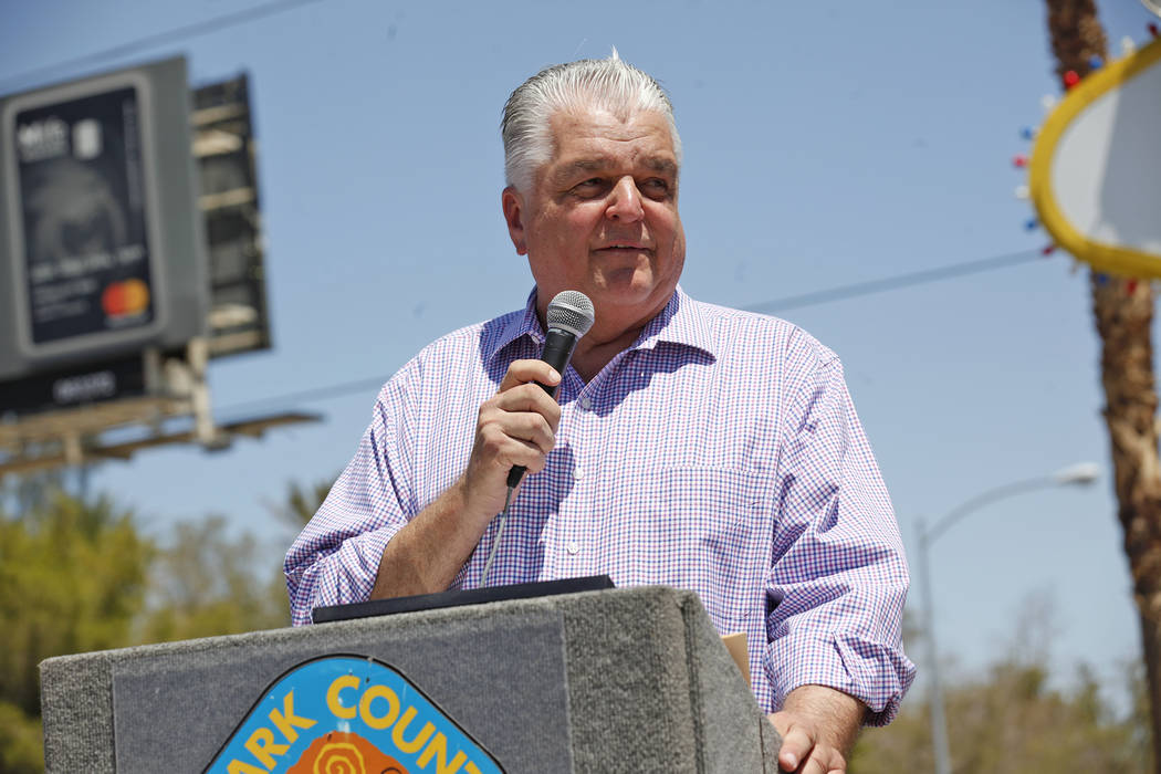 Rachel Aston/Las Vegas Review-Journal Clark County Commission Chairman Steve Sisolak speaks to the crowd at the Welcome to Fabulous Las Vegas sign on Monday, June 19, 2017, in Las Vegas. He is now ...