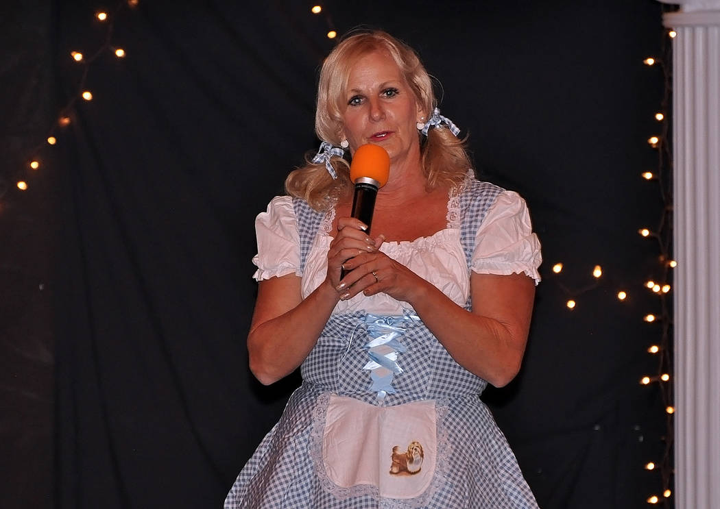 """Horace Langford Jr./Pahrump Valley Times  Dressed as Dorothy, Ms. Senior Golden Years USA Pageant contestant Carmen Murzyn performs the classic Wizard of Oz number, """"Somewhere over the Rainbow."""""""