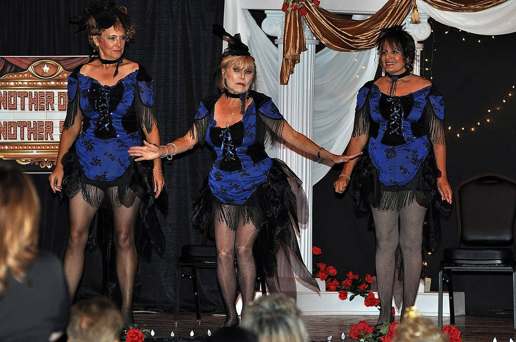 """Horace Langford Jr./Pahrump Valley Times  Michelle Caird, Allene Gunderson, and Virginia Emond perform the song """"Don't Tell Mamma,"""" from the Cabaret soundtrack during Saturday's program."""