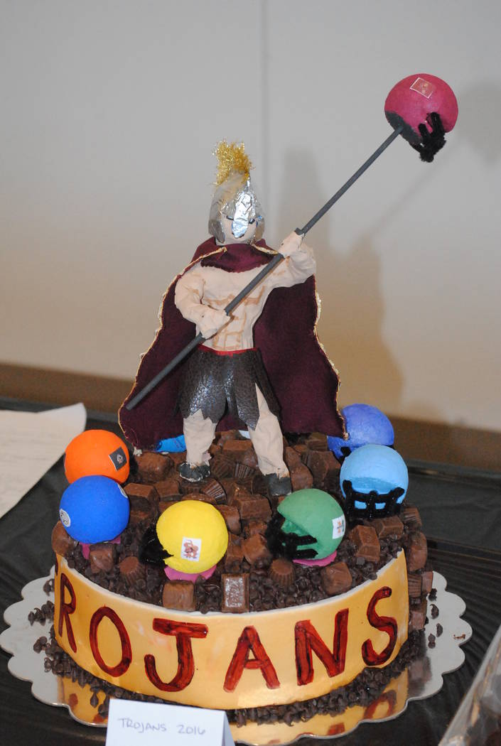 Charlotte Uyeno/Pahrump Valley Times A Trojans football cake from last year's dessert auction at the annual fundraiser. Yes, the spaghetti dinner is a big draw, but what people really like is th ...