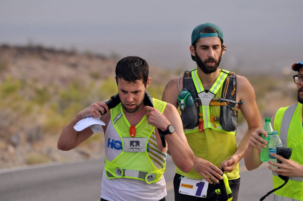 Horace Langford Jr./Pahrump Valley Times - Pete Kostelnick, two-time champion of Badwater, was going for his third consecutive win but struggled with the intense humidity early on in the race.