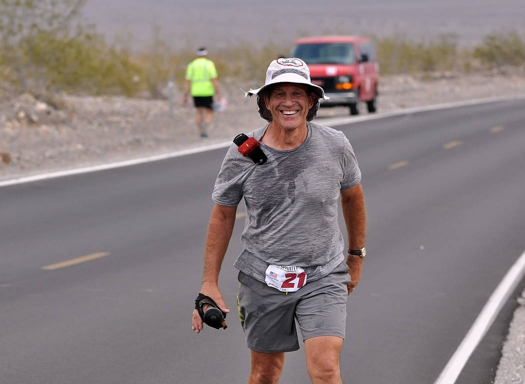 Horace Langford Jr./Pahrump Valley Times   Marshall Ulrich already in the Badwater Hall of Fame with four wins and numerous finishes was running the race because he likes to be around the Badwater ...