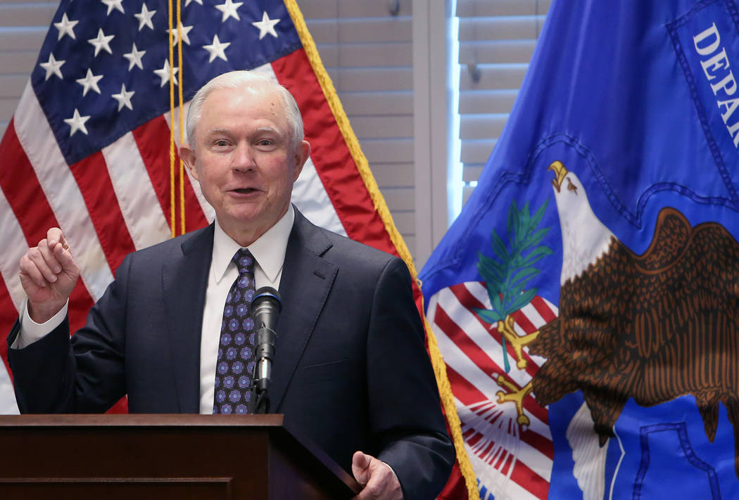 Bizuayehu Tesfaye/Las Vegas Review-Journal  Attorney General Jeff Sessions delivers a speech to federal, state and local law enforcement about sanctuary cities and efforts to combat violent crime  ...