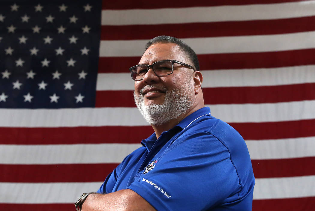 Tom Pedro, director of maintenance at Terrible Herbst Co., in front of the giant American flag at his work on Monday, July 3, 2017, in Las Vegas. Bizuayehu Tesfaye/Las Vegas Review-Journal @bizute ...