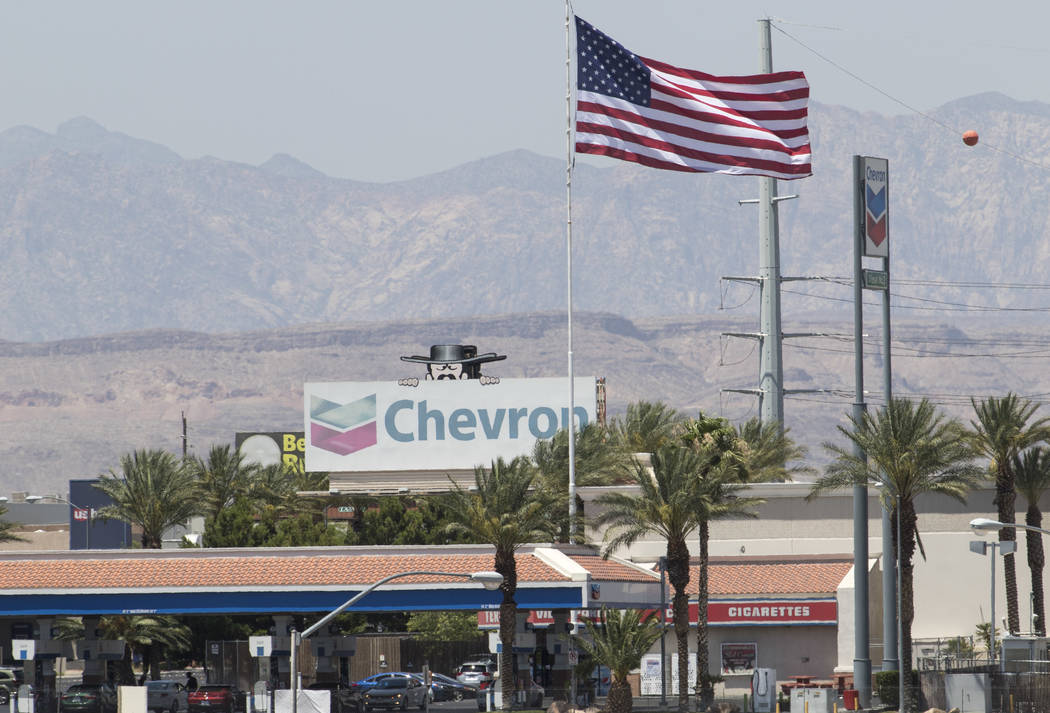 A large American flag blows in the wind above a Terrible Herbst gas station on West Russell Road and Polaris Avenue in Las Vegas on Sunday, July 2, 2017. Richard Brian Las Vegas Review-Journal @ve ...