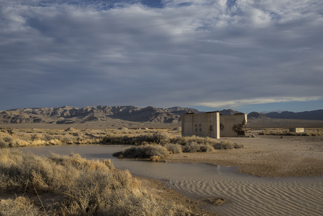 Benjamin Hager/Las Vegas Review-Journal The remains of a bridge built to measure the effects from the 1957 nuclear detonation test Priscilla at Frenchman Flat. Photo taken Wednesday, Jan., 11, 201 ...