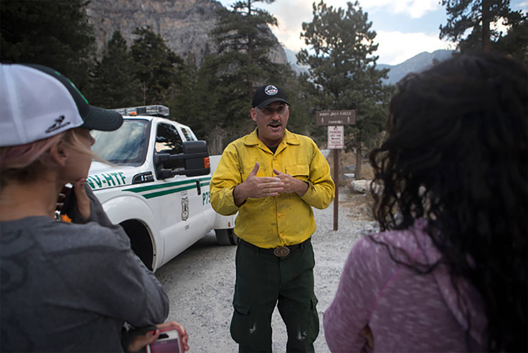 Special to the Pahrump Valley Times  Career fire prevention technician Ray Johnson was recently recognized for his efforts during the past 24 years at the Humboldt-Toiyabe National Forest Spring M ...