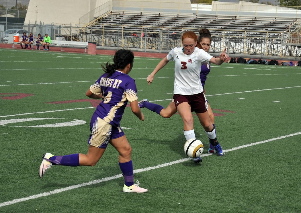 Horace Langford Jr. / Pahrump Valley Times - Kaitlyn Carrington (No.3) playing against Sunrise Mountain last year. The girls are gearing up for this year's soccer season. The team will have a car  ...