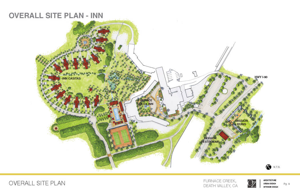 The Oasis at Death Valley  Site map of the planned project at The Inn at Death Valley (formerly The Inn at Furnace Creek).