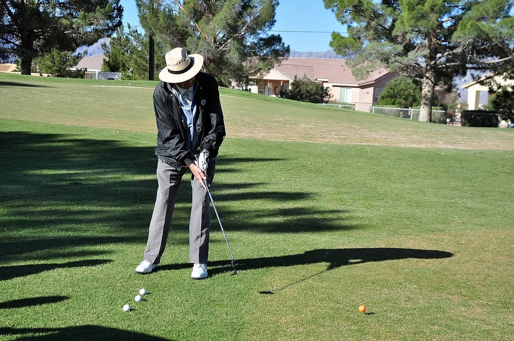 Horace Langford Jr./Pahrump Valley Times  Senior Bud Miller is seen playing at Lakeview Executive Golf Course. Many seniors don't play at Mountain Falls because the course is too long to walk. The ...