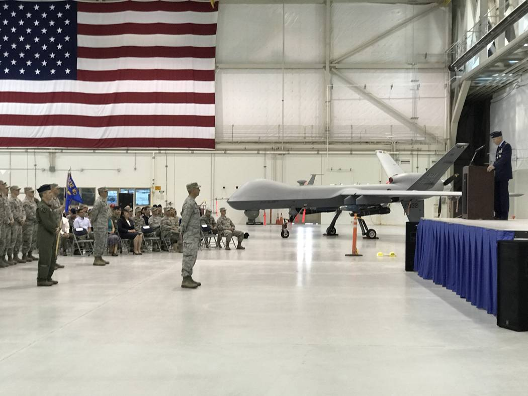 Change-of-command ceremony for the 432nd Wing inside the Reaper hangar at Creech Air Force Base, Thursday, July 6, 2017. (Keith Rogers/Las Vegas Review-Journal)
