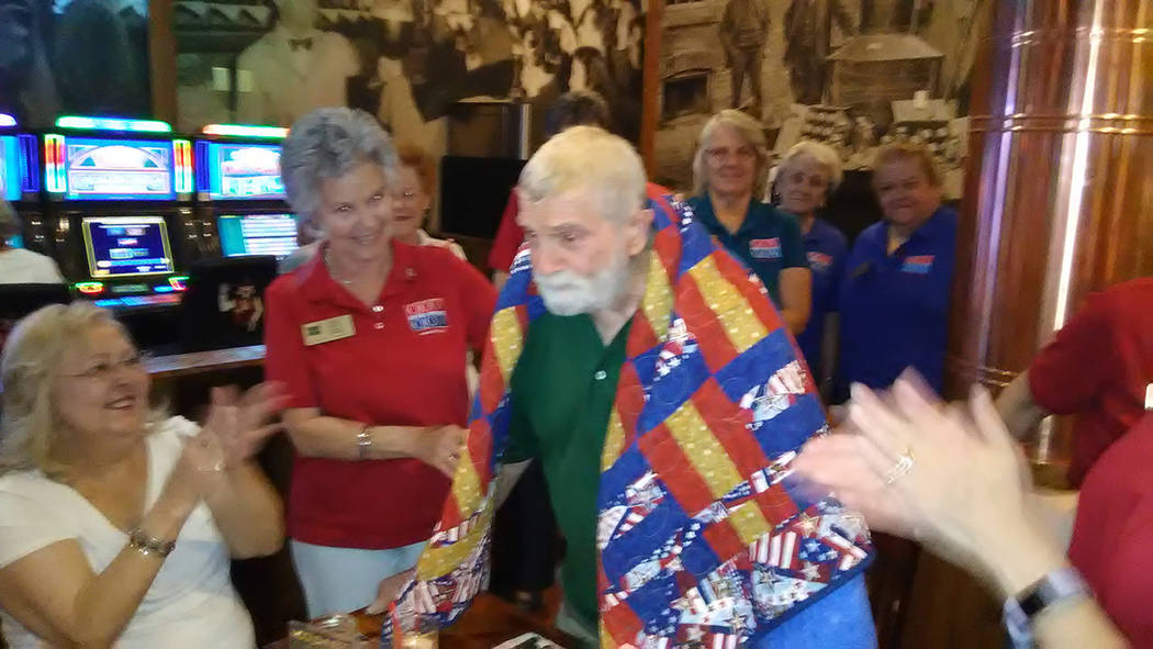 Selwyn Harris/Pahrump Valley Times Members of Pahrump's Quilts of Valor recently bestowed 93 year-old Pahrump veteran Robert Forslund with a one-of-a kind personalized quilt, created by members  ...