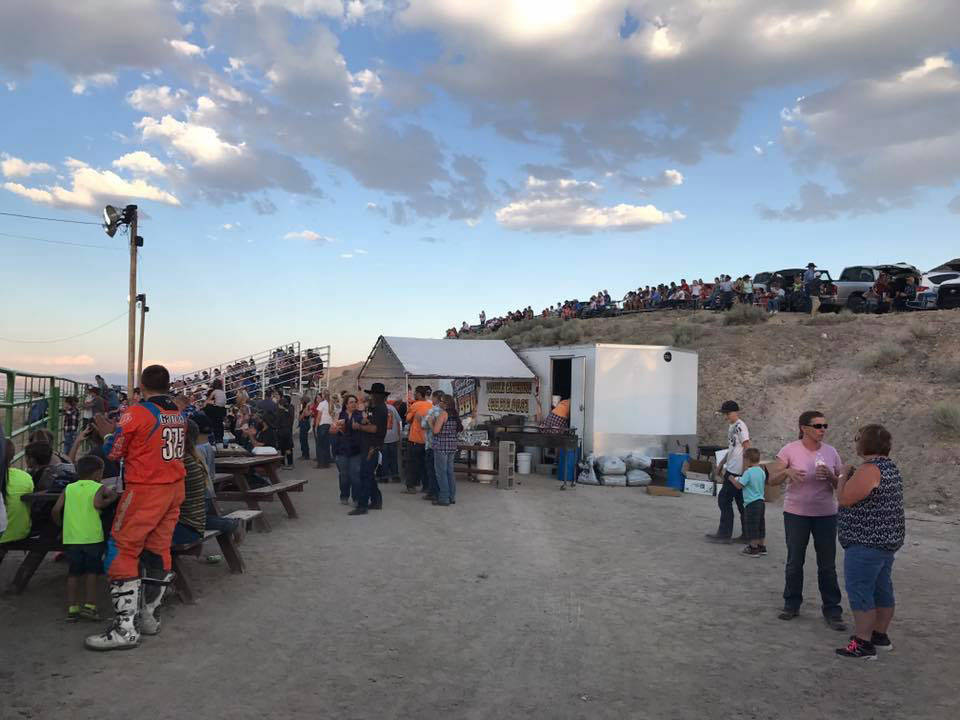 Kat Galli/Town of Tonopah Dozens look on at the Tonopah Rodeo Grounds on July 15-16 for the main event for the Smackdown Rodeo in Tonopah. The weekend's festivities began on July 14 with a street  ...