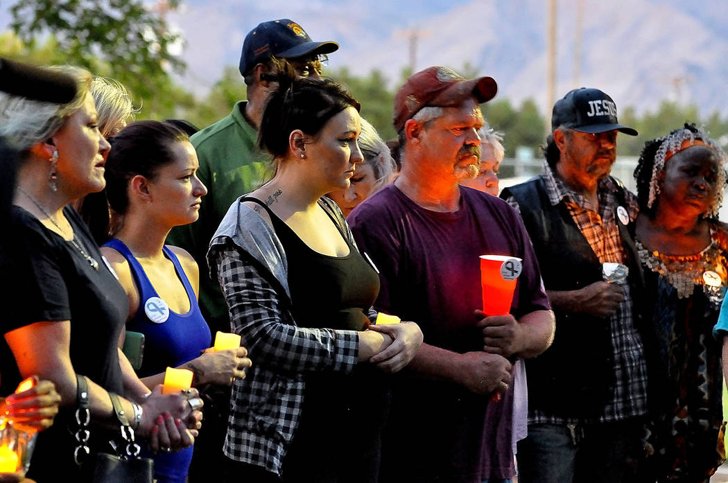 Horace Langford Jr./Pahrump Valley Times  Candelight vigil, locals come together to mourn and reflect on the loss of 3 year-old Yessenia Camp.