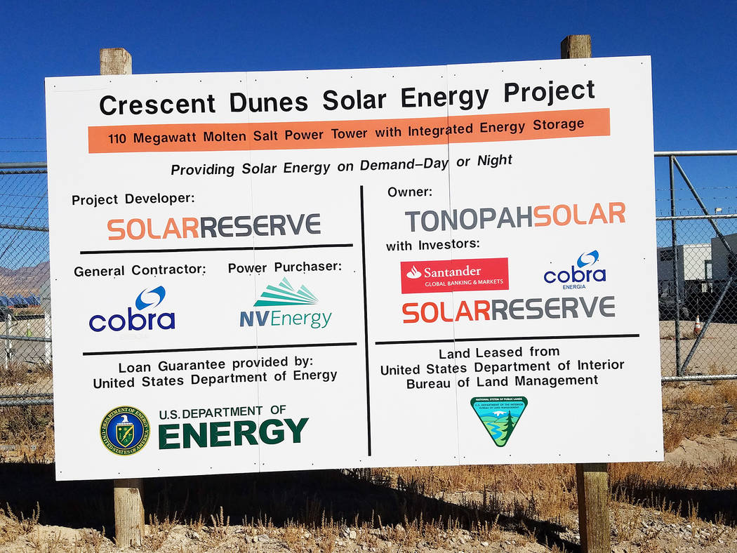 David Jacobs/Times-Bonanza & Goldfield News  The SolarReserve Crescent Dunes plant sign as seen in an October 2016 photo. The plant went offline for repairs in the fall.