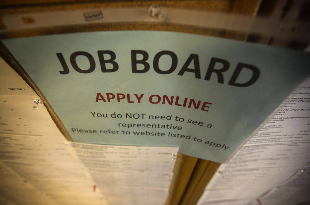 Las Vegas Review-Journal The job board is seen at Nevada JobConnect in Henderson.