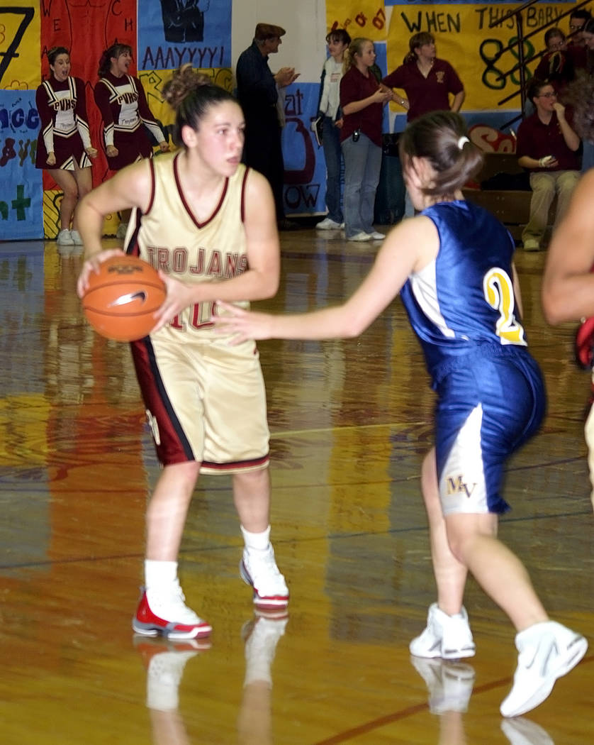 """Horace Langford Jr./Pahrump Valley Times Brittany Orr (#10), playing as a guard for the Pahrump Valley Trojans around 2008. Her nickname back then was """"Either Or""""."""