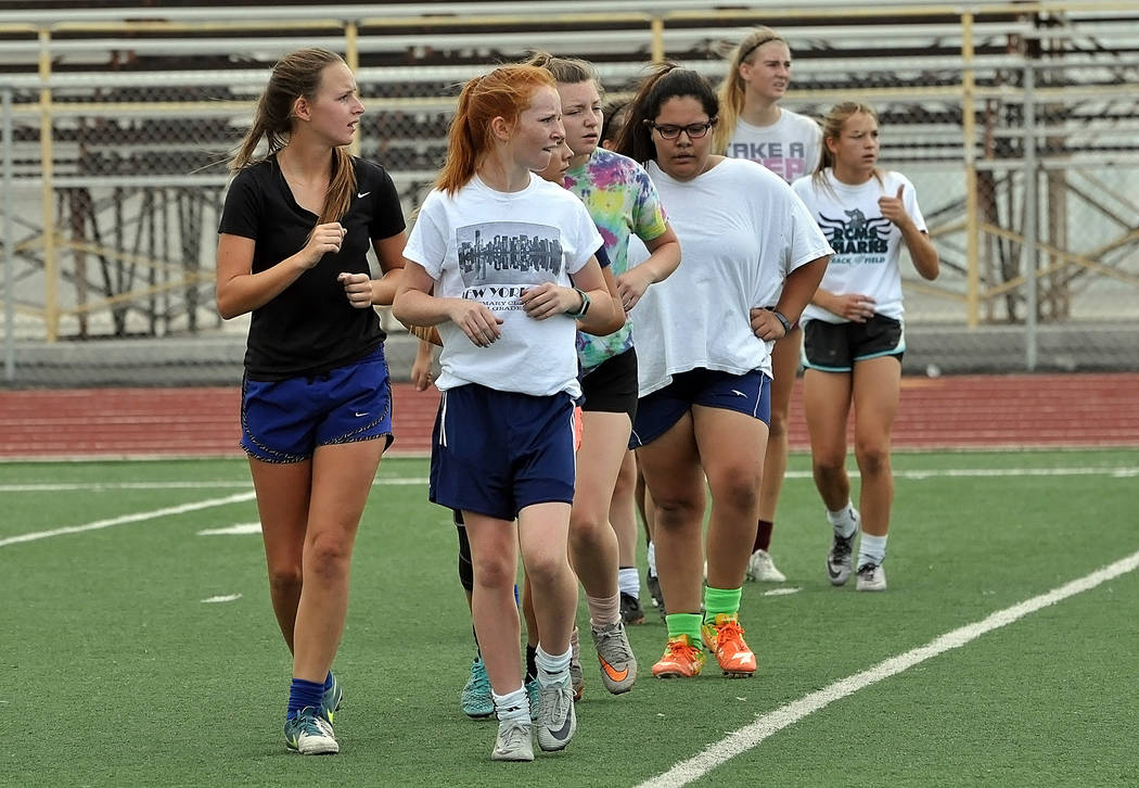 Horace Langford Jr./Pahrump Valley Times  Pahrump Valley High School Trojans girls soccer has been conditioning and getting ready for this year's season. Tryouts will be from 7 a.m.-9 a.m. Augus ...