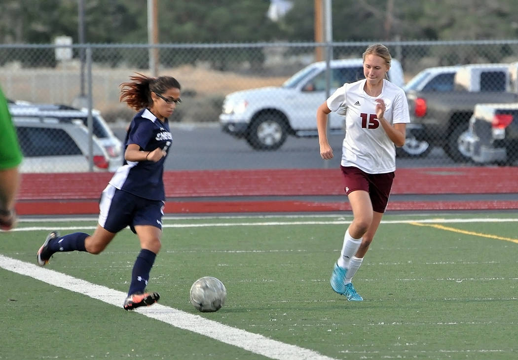 Horace Langford Jr./Pahrump Valley Times  Alyvia Briscoe (#15), played defense for the Pahrump Valley Trojans last year. She is a senior this year and looking forward to a great season on the socc ...