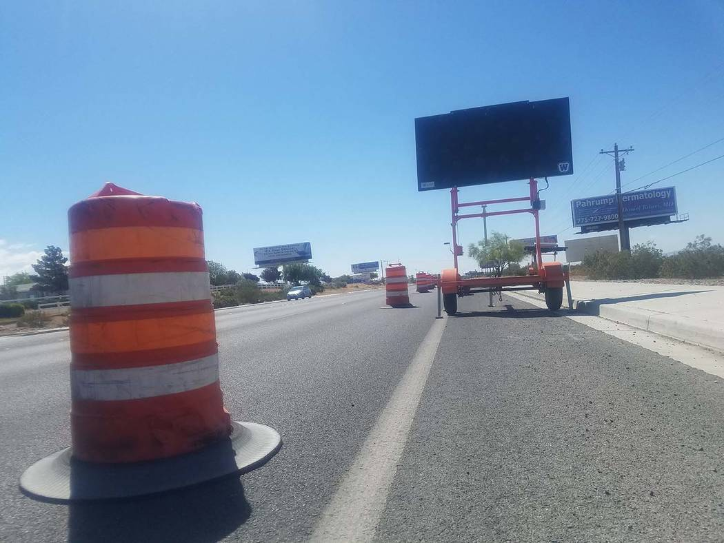 David Jacobs/Pahrump Valley Times In this file photo, a sign along Highway 160 informs motorists about road work that is underway.