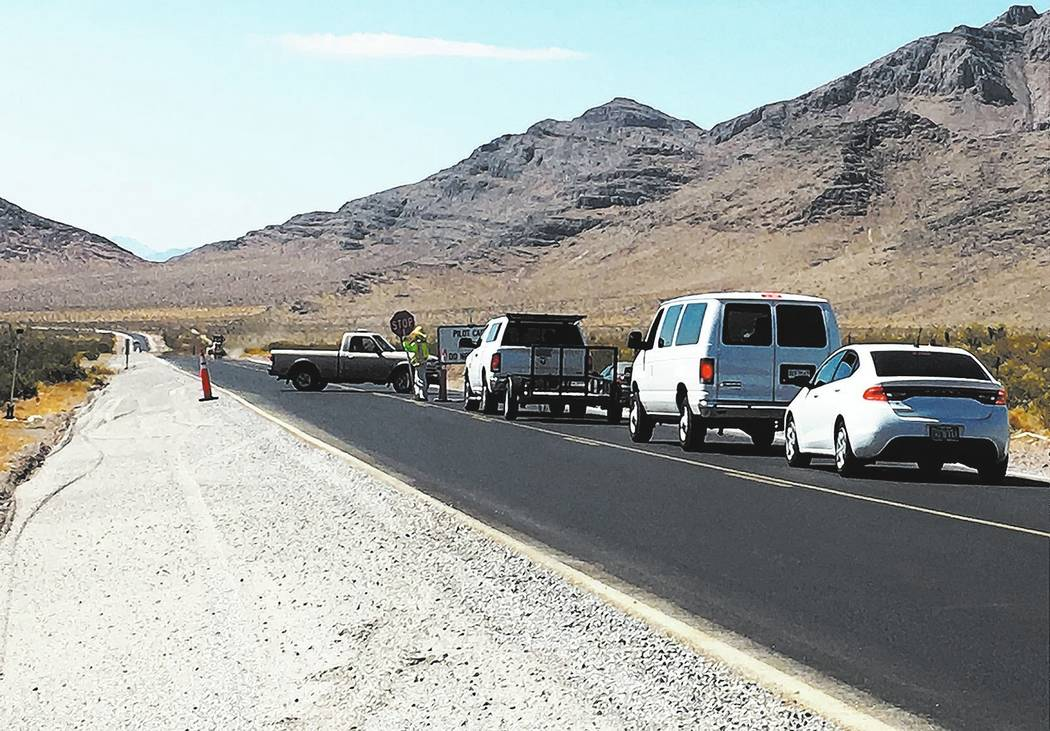 Special to the Pahrump Valley Times A daytime pilot car will travel along Nevada Highway 160 between mile markers 24 and 30 in Nye County as part of the Nevada Department of Transportation road wo ...