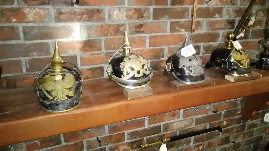 Selwyn Harris/Pahrump Valley Times  Prussian Pickelhaubes, the spiked helmets worn in the nineteenth and twentieth centuries by German military troops are on the auction block. The Pickelhaube hel ...