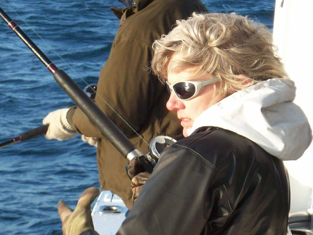 Dan Simmons  Laura Oslund, once an administrator for the Nye County Communities Coalition, experiences her first ocean fishing adventure in Point Loma, California, with Dan Simmons. Osland, now th ...
