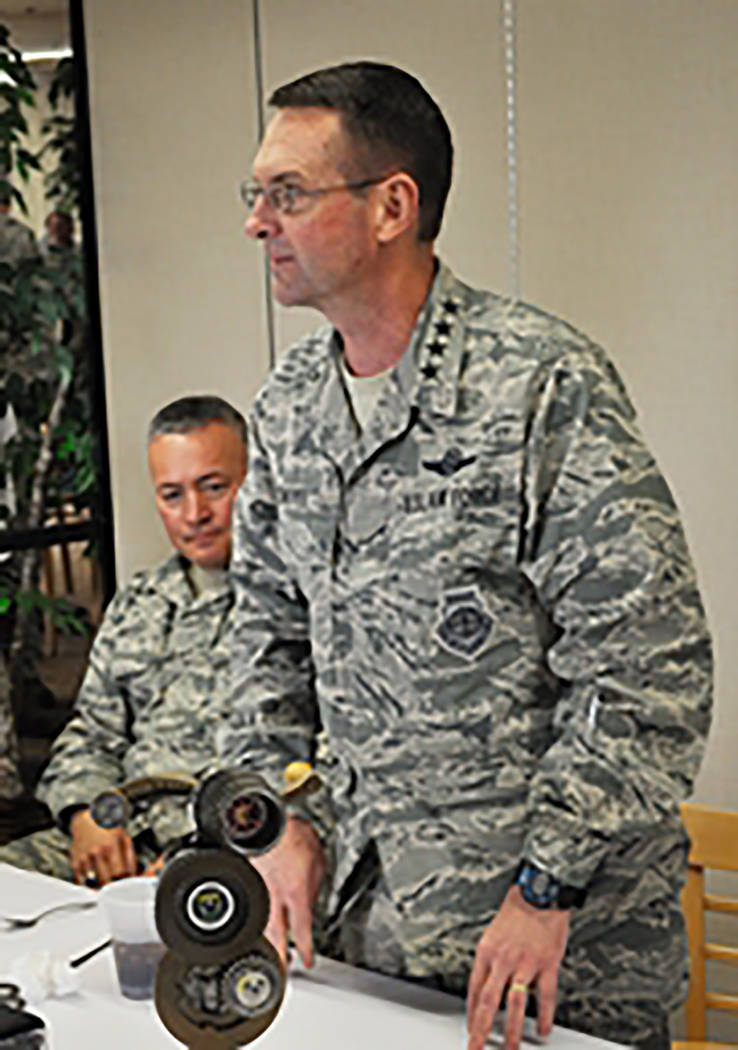 Photo courtesy 152nd Airlift Wing Accompanied by his senior enlisted advisor Chief Master Sgt. Mitchell Brush (background), Gen. Joseph Lengyel, the Chief of the National Guard Bureau, attends a L ...