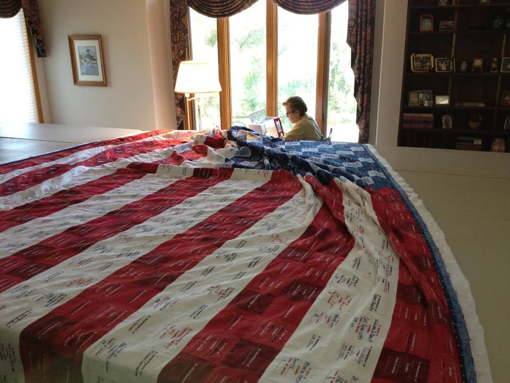 Special to the Pahrump Valley Times The Remembrance Quilt Experience exhibit in Pahrump will feature a quilt fashioned in the shape of an American flag. The quilt features over 258 fabric squares  ...