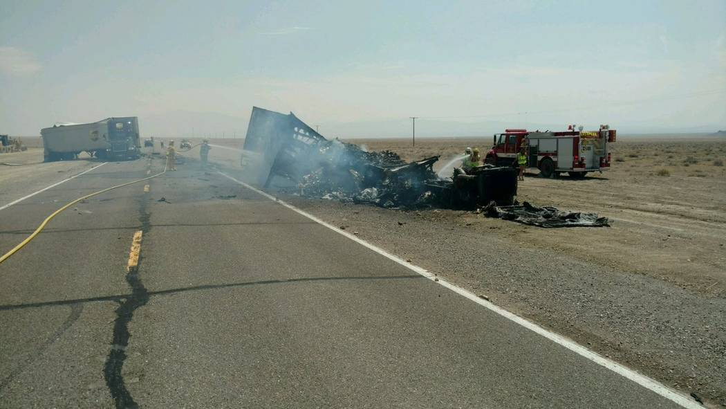 Nevada Highway Patrol via Twitter Driver of a big rig was killed after a collision with a UPS truck on July 20, 2017. NHP Northern Command closed U.S. 6 to traffic in both directions just before 1 ...