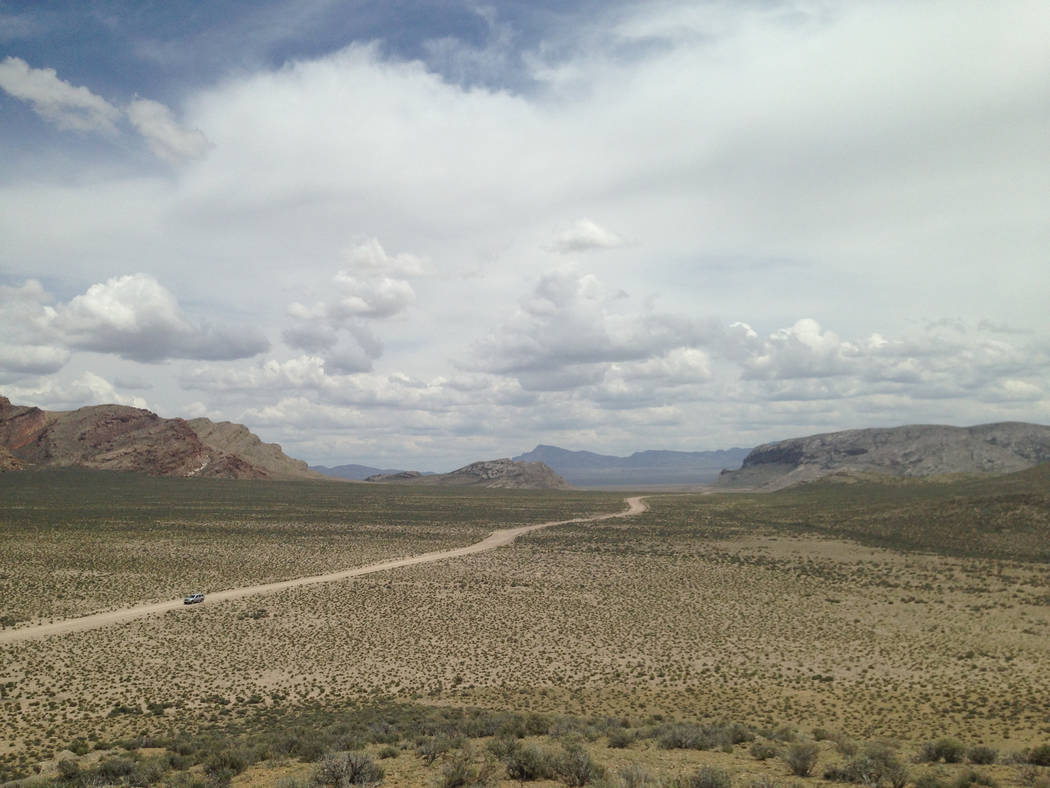 Clouds build over what is now Basin and Range National Monument, about 150 miles north of Las Vegas, on May 20, 2015. Nye County Commission Chairman Dan Schinhofen said he will ask Interior Secret ...