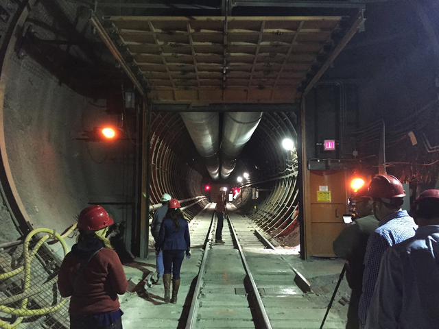 Pahrump Valley Times A look inside the south portal entrance to Yucca Mountain during a tour by federal lawmakers, congressional staff members, media and Department of Energy employees April 9, 2015.