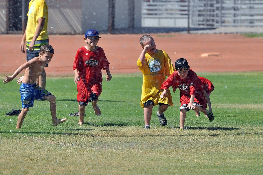 The G.R.E.A.T. Games at Petrack Park give the kids a good cooling down, which was courtesy of Pahrump Valley Fire and Rescue.