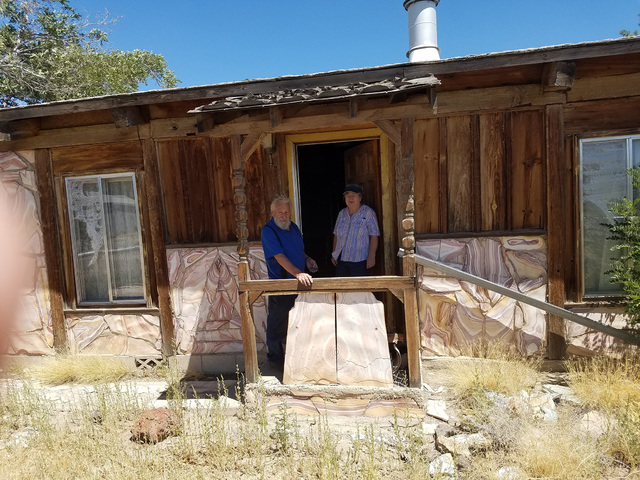David Jacobs/Times-Bonanza & Goldfield News Aldo Mazzella and his wife Carol as shown Aug. 6, 2016 in the house they bought earlier that day for  $27,000 at the Goldfield Days land auction hel ...