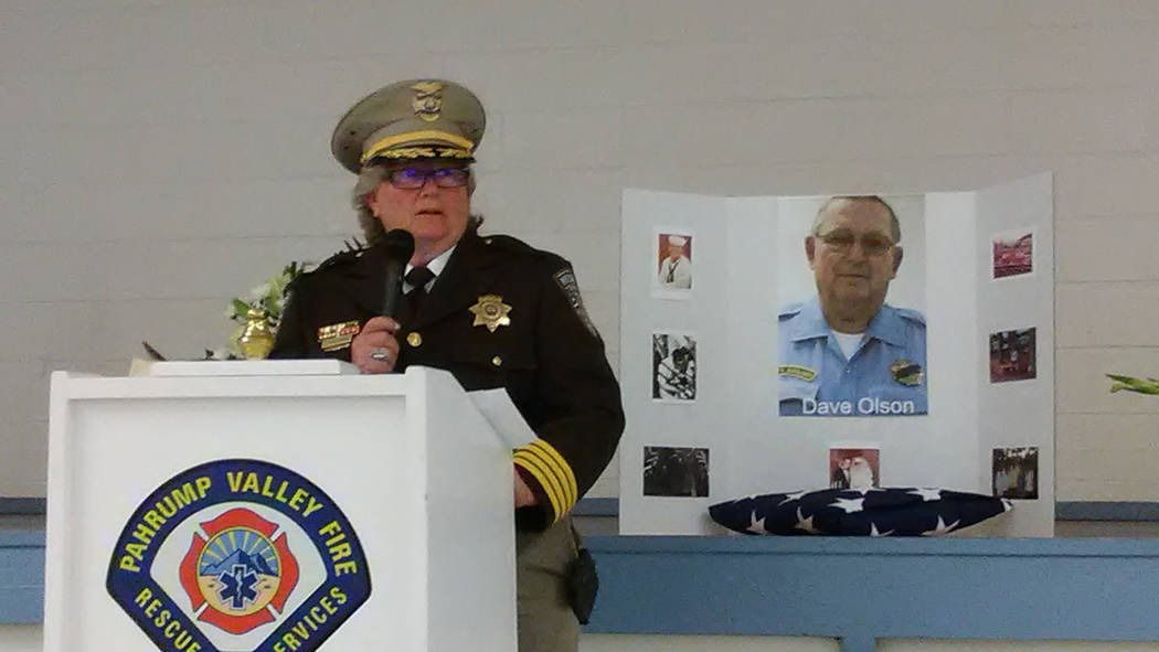 Selwyn Harris/Pahrump Valley Times  Nye County Sheriff Sharon Wehrly speaks of the community involvement late NCSO Auxiliary Officer David Olson volunteered his time for. Olson died May 23 in Las  ...
