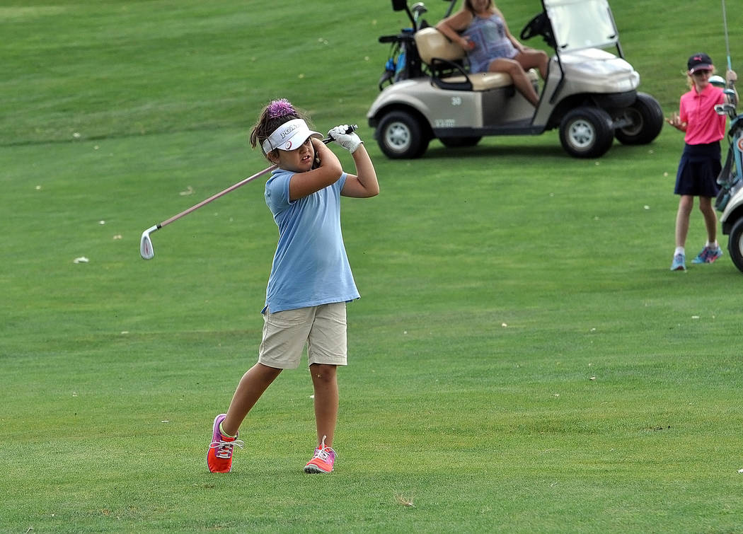 Photos by Horace Langford Jr./Pahrump Valley Times  Future high school golfer Liviana Davis took first place in the 7-8 division, carding a 137. She just started golf recently.