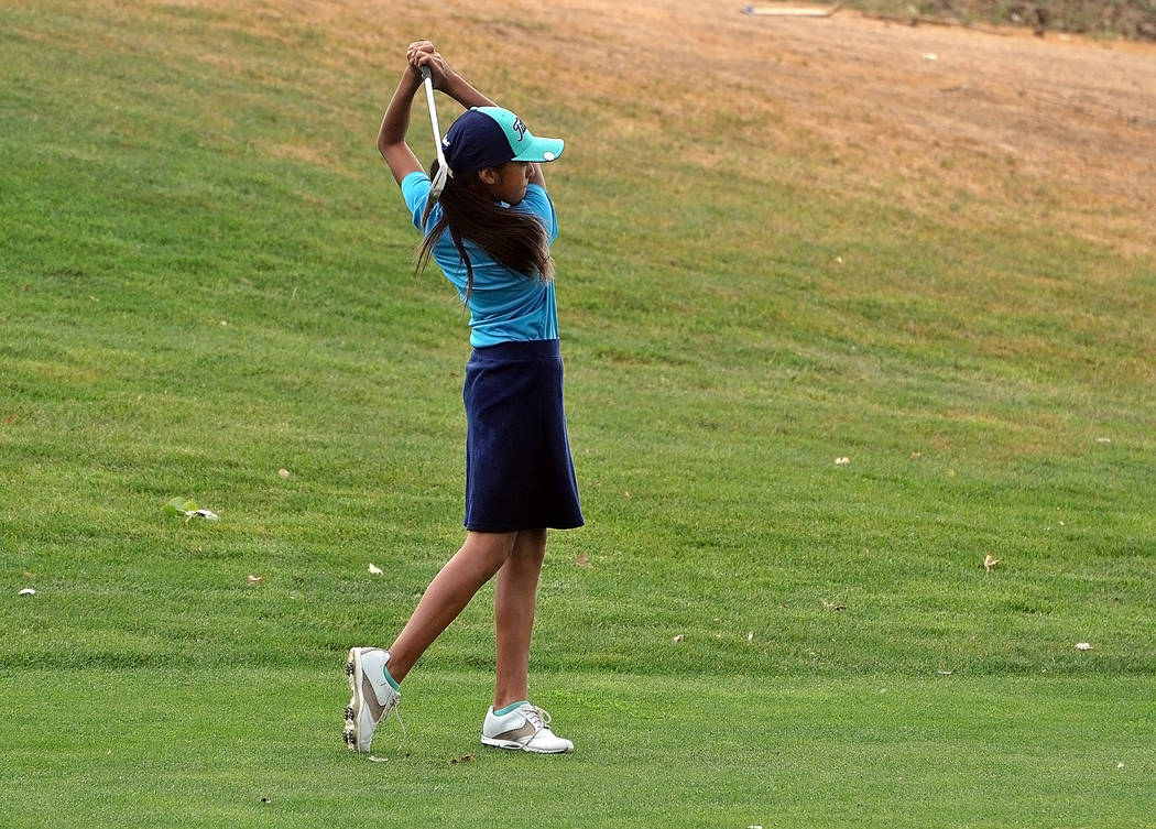 Horace Langford Jr./Pahrump Valley Times  Ali Zuniga in the 9-11 division, took first place, carding a 102 in the two-day Gene Goins Memorial Golf Tournament, which was held on Tuesday and Wednesd ...