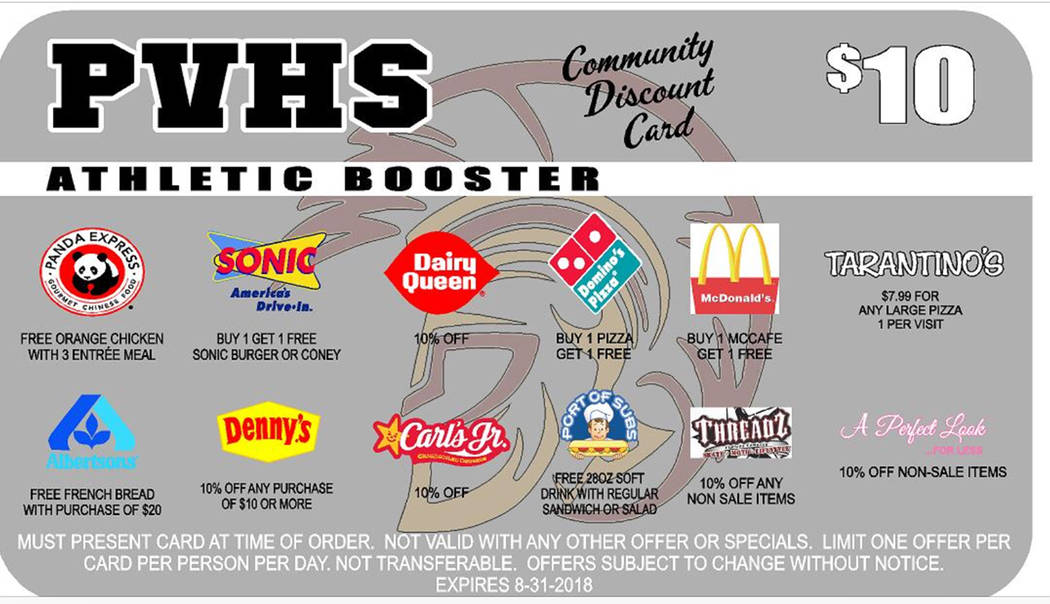 Special to the Pahrump Valley Times  This is the front and back of the Pahrump Valley High School discount card, which is now on sale for $10. All the vendors are listed.