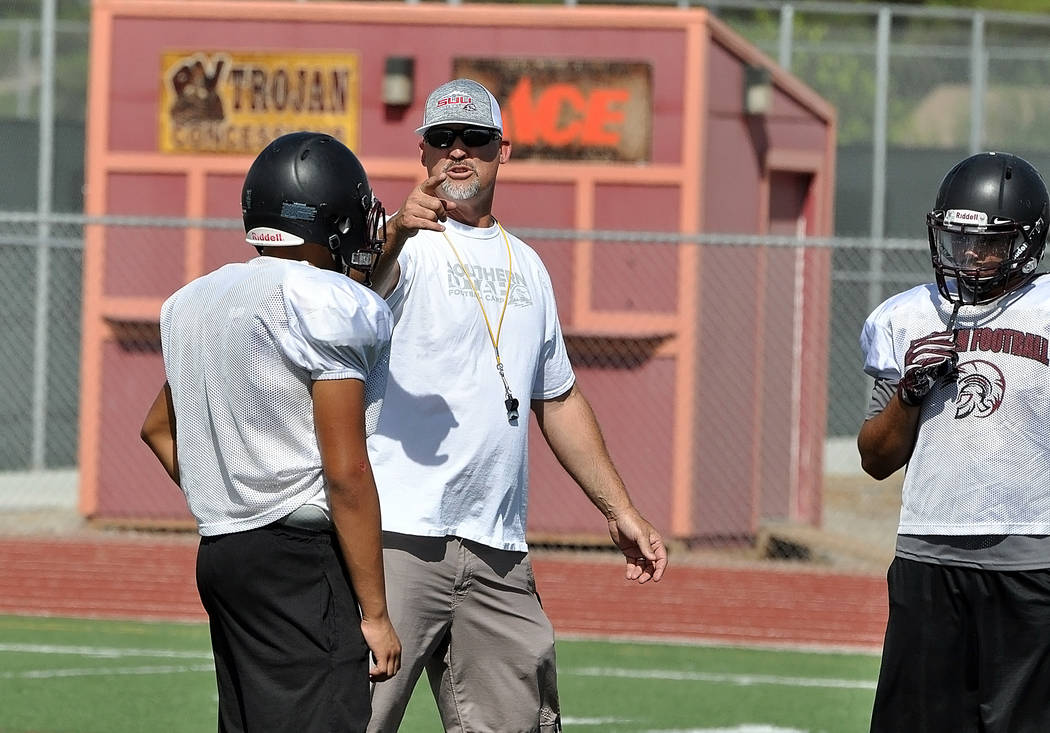 Horace Langford Jr./Pahrump Valley Times -  PVHS Football practice, defense. Head Coach Joe Clayton