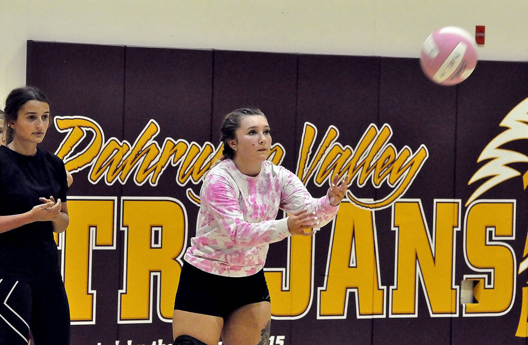 Horace Langford Jr./Pahrump Valley Times -  PVHS Volleyball practice.