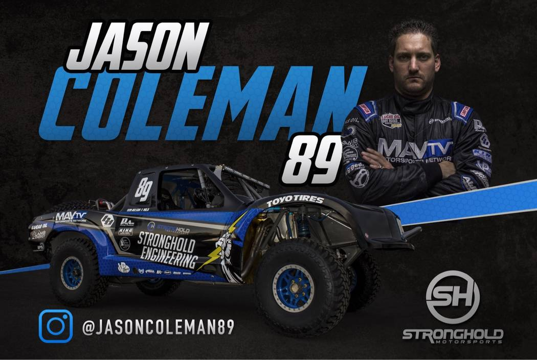 Special to the Pahrump Valley Times  Jason Coleman stands with his No. 89 Trick Truck, which he will be driving in the Vegas to Reno race on Aug. 18, which starts in Beatty. He said he will be one ...
