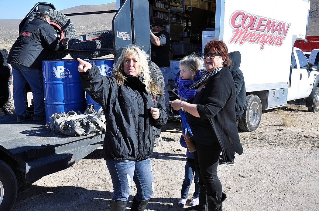 Horace Langford Jr./Pahrump Valley Times  This year's Vegas to Reno pit crew for Jason Coleman will still be a lot of family. His aunt, Cary Jubinsky, who lives in Pahrump, will be crewing for h ...