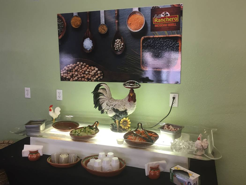Jeffrey Meehan/Pahrump Valley Times The condiments bar at the newly opened El Pollo Ranchero restaurant at 1330 S. Highway 160, suite 1. The restaurant has a variety of hot sauces, with its mainst ...