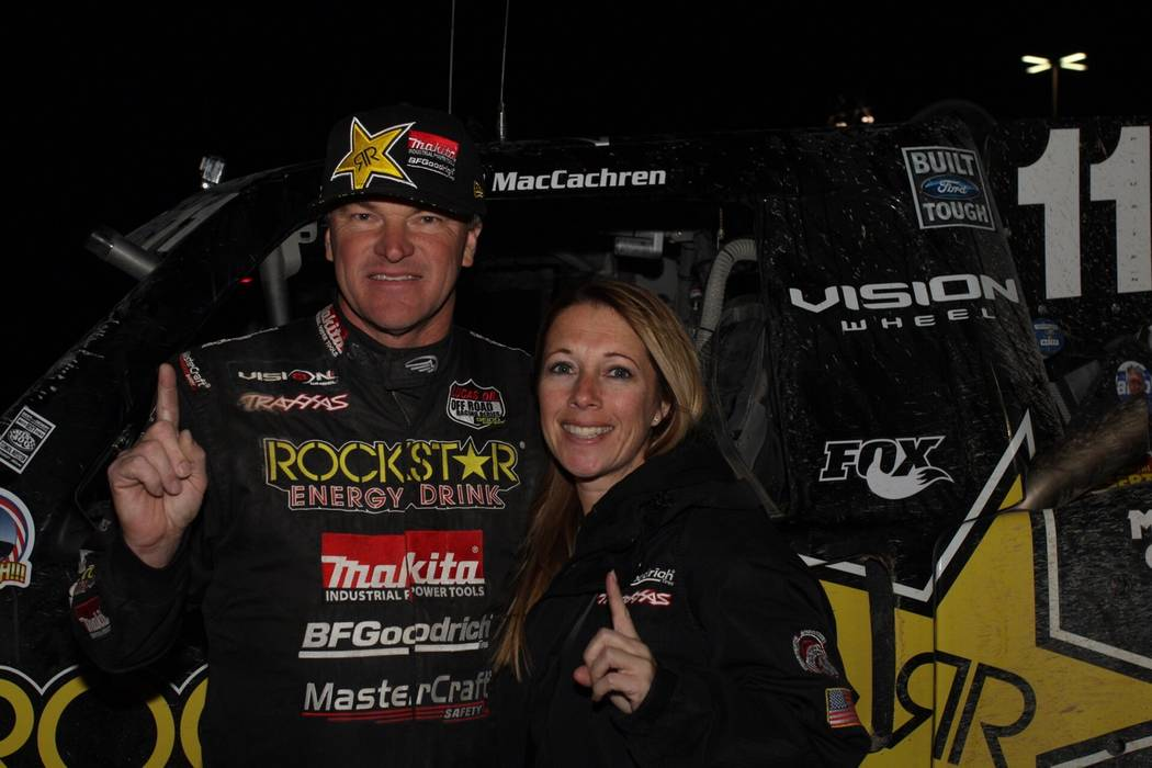 Brittany Westhoff/Special to the Pahrump Valley Times  Rob MacCachren with his significant other, Amber Malloy, after winning the Mint 400 on March 4 in Las Vegas. MacCachren was second last year  ...