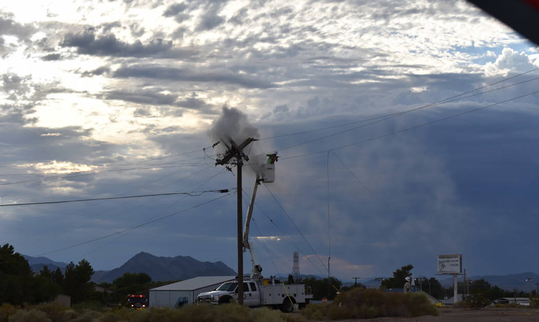 Special to the Pahrump Valley Times Local crews were dispatched to the area of East and First Streets for a downed power line last Wednesday August 2, causing a series of electrical arcs. Fire cre ...